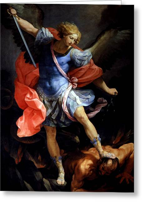Michael Defeating Satan Greeting Card by Guido Reni