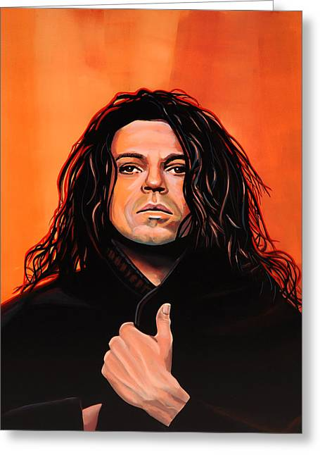 Michael Hutchence Painting Greeting Card by Paul Meijering