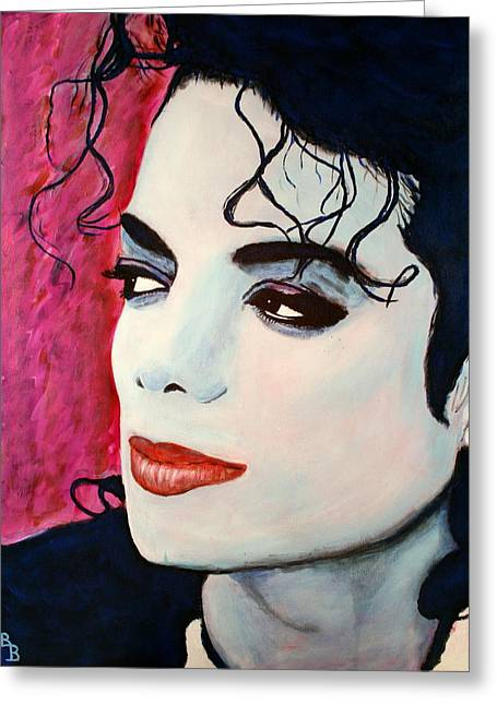 Greeting Card featuring the painting Michael Jackson Art - Full Color by Bob Baker