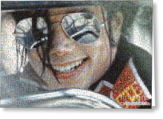 Michael Jackson - Mosaic Greeting Card by Paulette B Wright