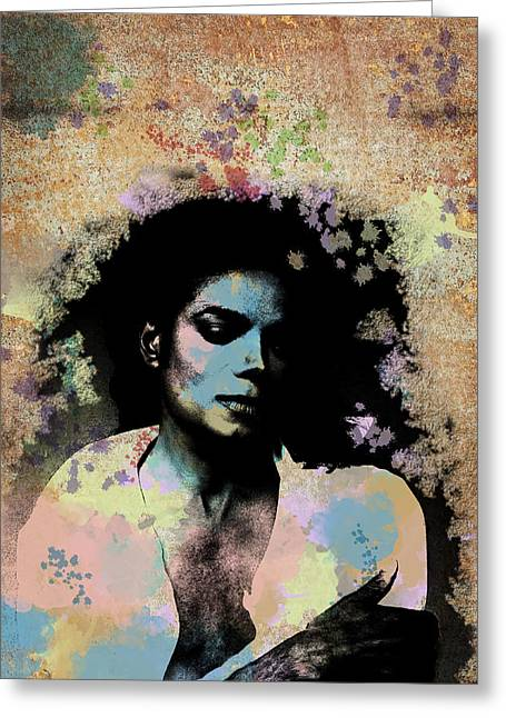 Michael Jackson - Scatter Watercolor Greeting Card by Paulette B Wright