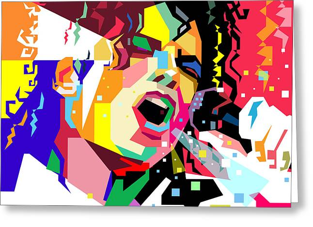 Michael Jackson Singing On Wpap Greeting Card by Ahmad Nusyirwan