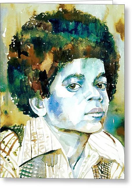 Michael Jackson - Watercolor Portrait.12 Greeting Card by Fabrizio Cassetta