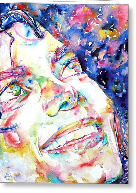 Michael Jackson - Watercolor Portrait.13 Greeting Card by Fabrizio Cassetta