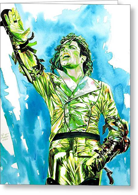 Michael Jackson - Watercolor Portrait.14 Greeting Card by Fabrizio Cassetta