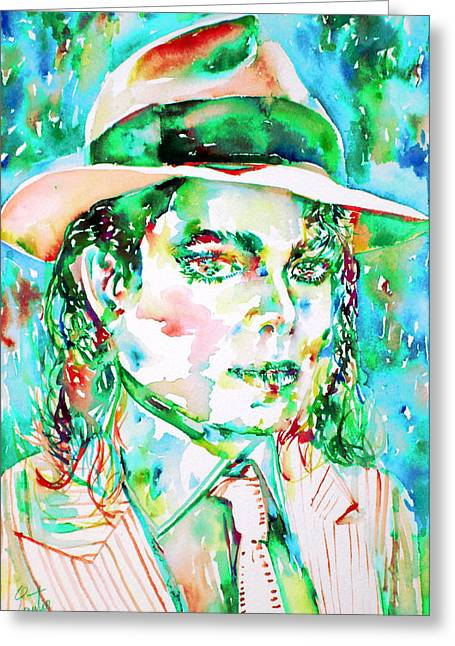 Michael Jackson - Watercolor Portrait.15 Greeting Card by Fabrizio Cassetta