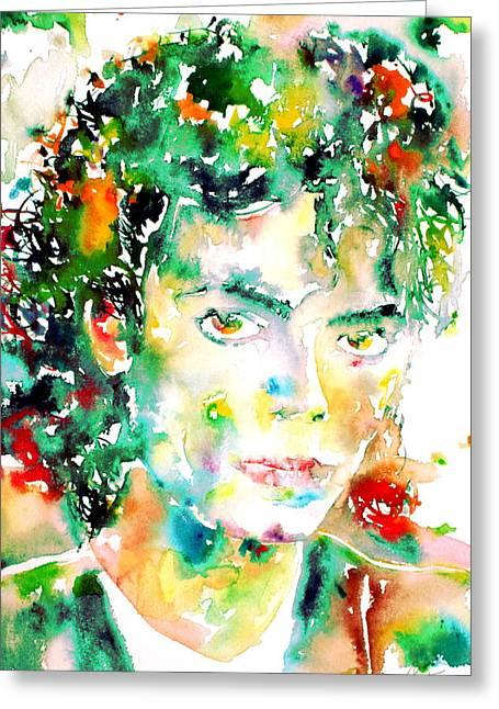 Michael Jackson - Watercolor Portrait.4 Greeting Card by Fabrizio Cassetta