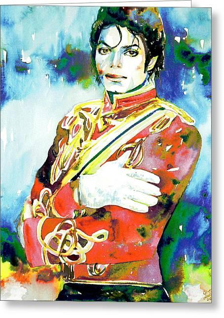Michael Jackson - Watercolor Portrait.5 Greeting Card by Fabrizio Cassetta