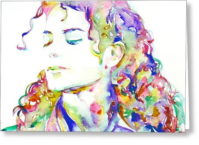 Michael Jackson - Watercolor Portrait.6 Greeting Card by Fabrizio Cassetta