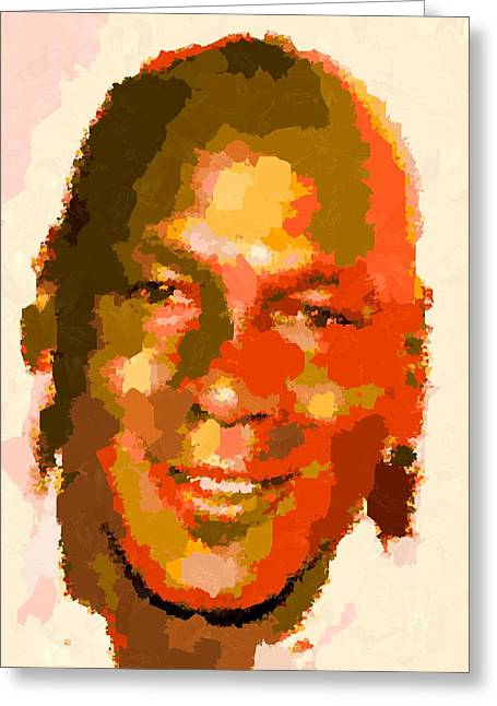 Michael Jordan - Abstract Greeting Card by Samuel Majcen