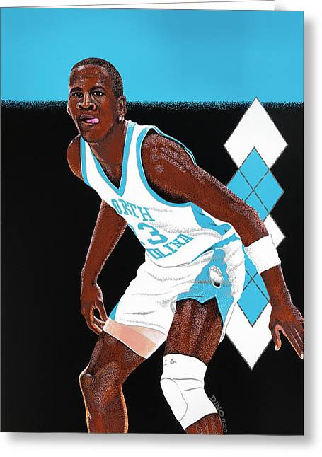 Michael Jordan Carolina Blues Greeting Card by Dino Murphy