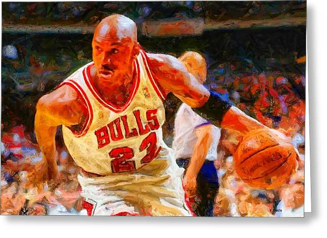 Michael Jordan Greeting Card by Kai Saarto