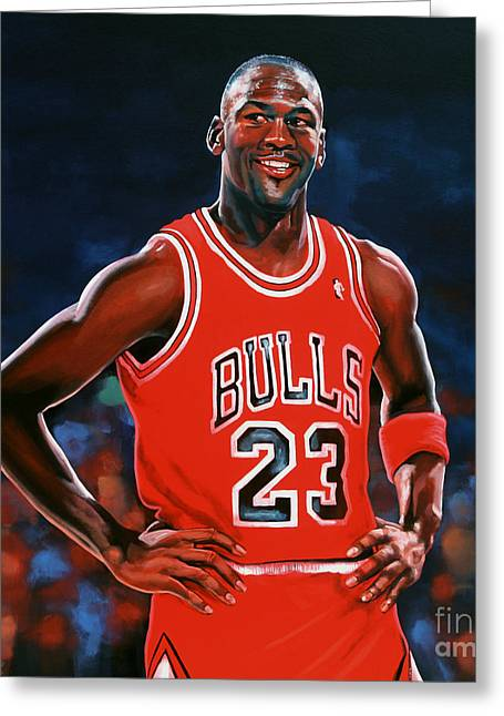 Basket Ball Game Paintings Greeting Cards - Michael Jordan Greeting Card by Paul Meijering