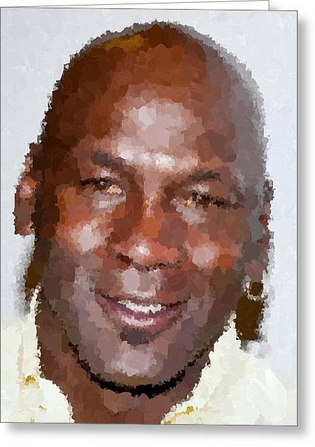 Michael Jordan Portrait Greeting Card by Samuel Majcen