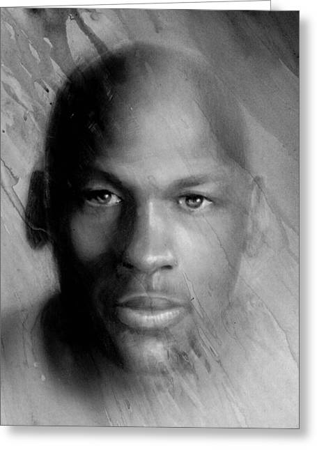 Michael Jordan Potrait Greeting Card by Angie Villegas