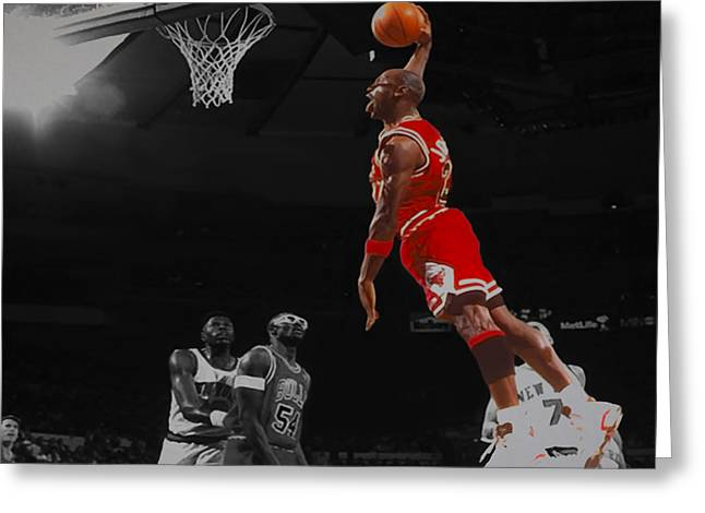 Michael Jordan Tongue Out Cradle Dunk Greeting Card by Brian Reaves