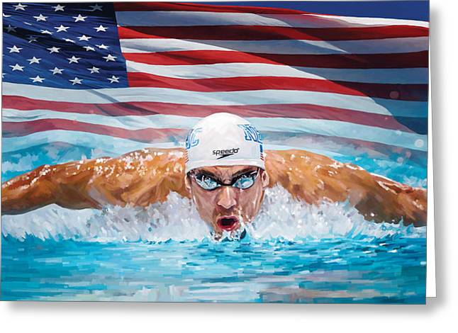 Michael Phelps Artwork Greeting Card by Sheraz A