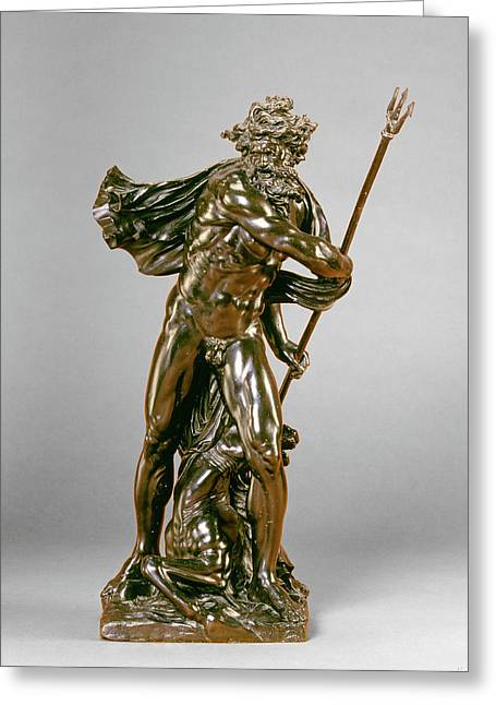 Michel Anguier, Neptune With A Hippocamp Greeting Card by Litz Collection