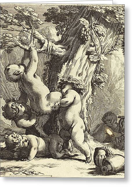 Michel Dorigny French, Putti And Fauns Climbing A Grapevine Greeting Card