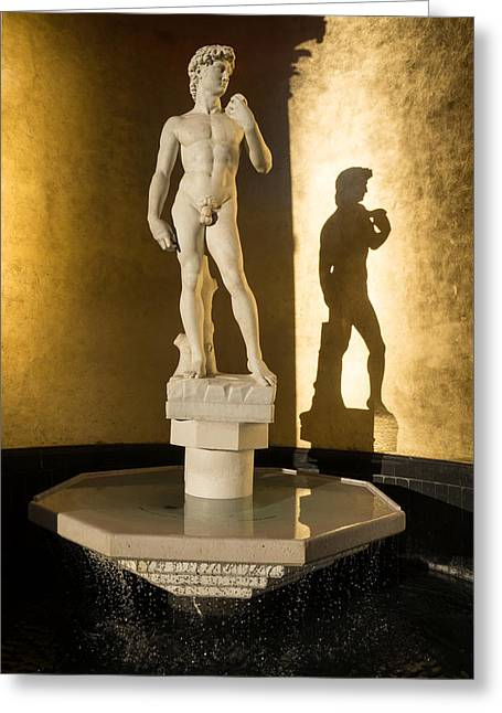 Michelangelo's David And His Shadow Greeting Card by Georgia Mizuleva