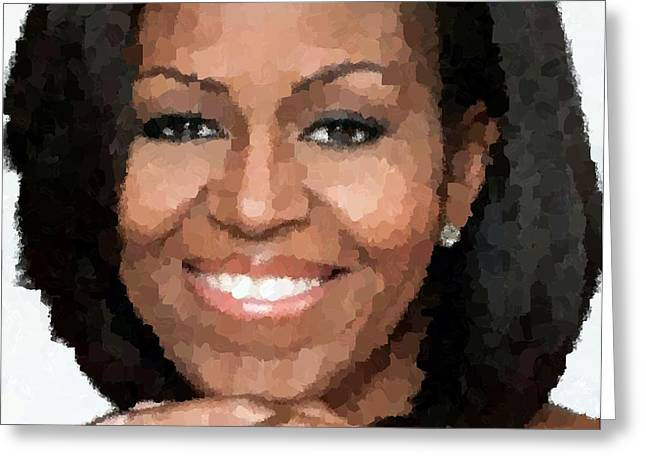 Michelle Obama Greeting Card by Samuel Majcen