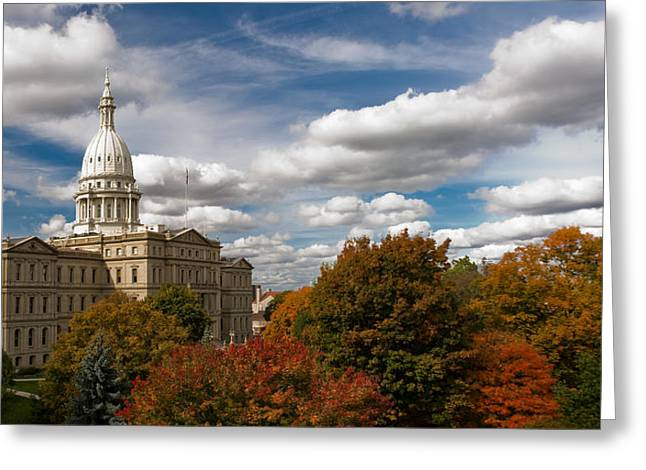 Greeting Card featuring the photograph Michgan Capitol - Autumn by Larry Carr