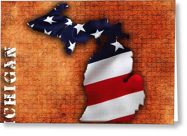 Michigan Amercian Flag State Map Greeting Card