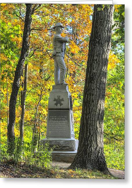 Michigan At Gettysburg - 24th Michigan Volunteer Infantry-2a Iron Brigade Near Willoughby Run Greeting Card