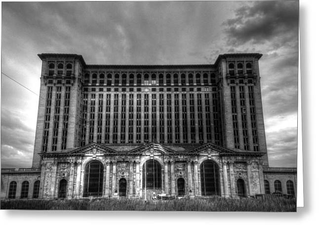 Michigan Central Station Bw Greeting Card