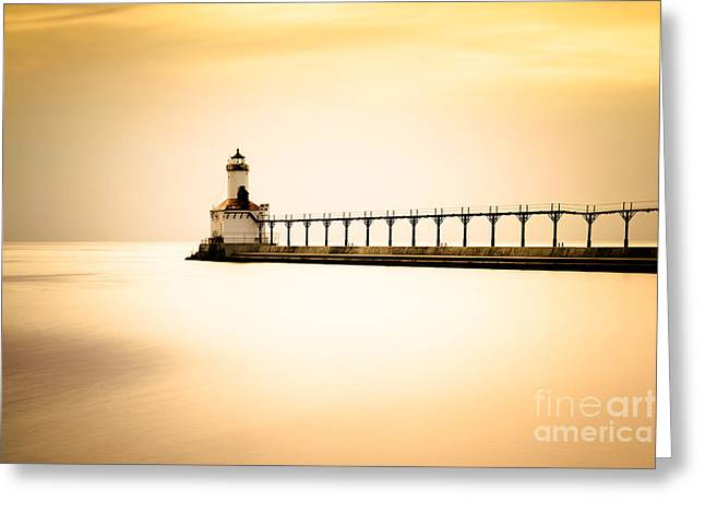 Michigan City Lighthouse At Sunset Picture Greeting Card by Paul Velgos