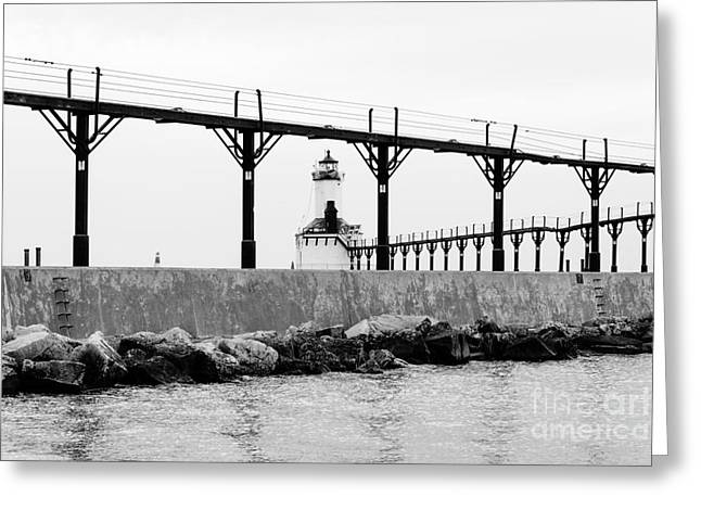 Michigan City Lighthouse Black And White Picture Greeting Card by Paul Velgos