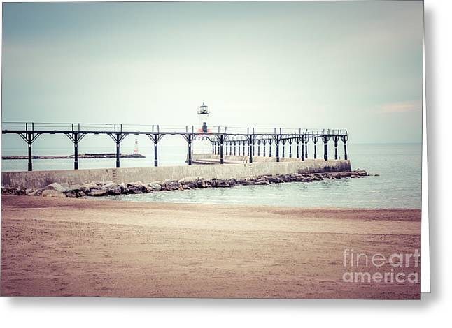 Michigan City Lighthouse Retro Photo Greeting Card by Paul Velgos