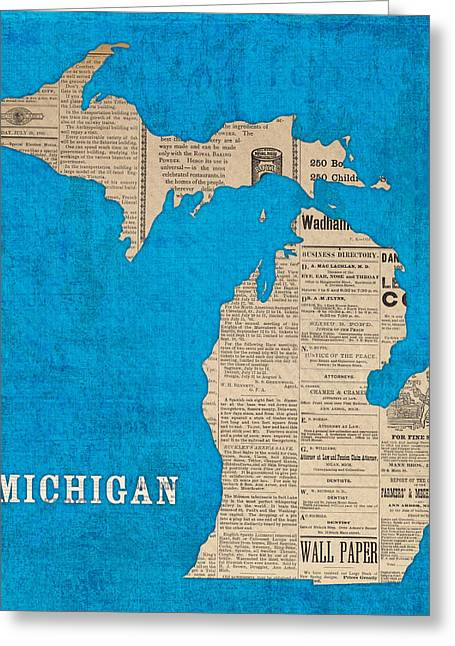 Michigan Map Made Of Vintage Newspaper Clippings On Blue Canvas Greeting Card by Design Turnpike
