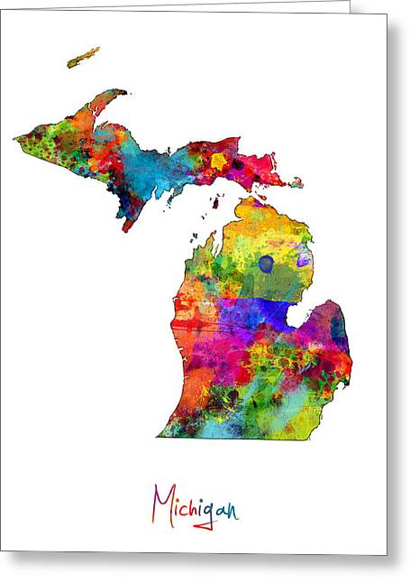 Michigan Map Greeting Card by Michael Tompsett