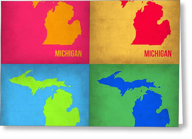Michigan Pop Art Map 1 Greeting Card