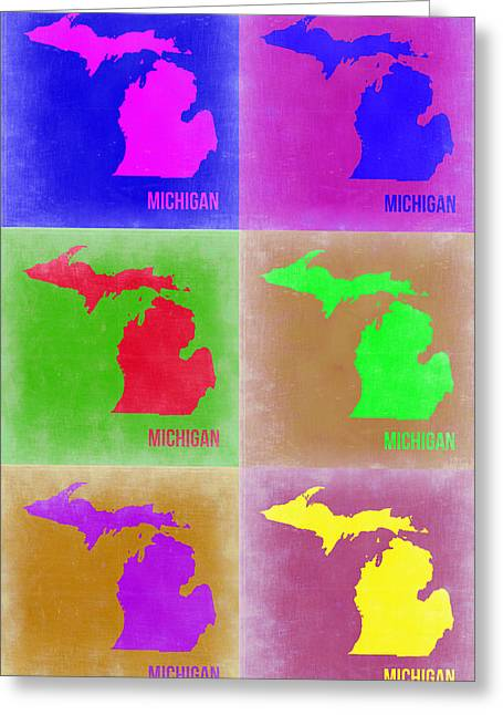 Michigan Pop Art Map 2 Greeting Card by Naxart Studio
