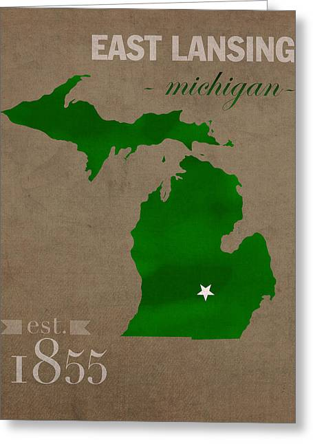 Michigan State University Spartans East Lansing College Town State Map Poster Series No 004 Greeting Card by Design Turnpike
