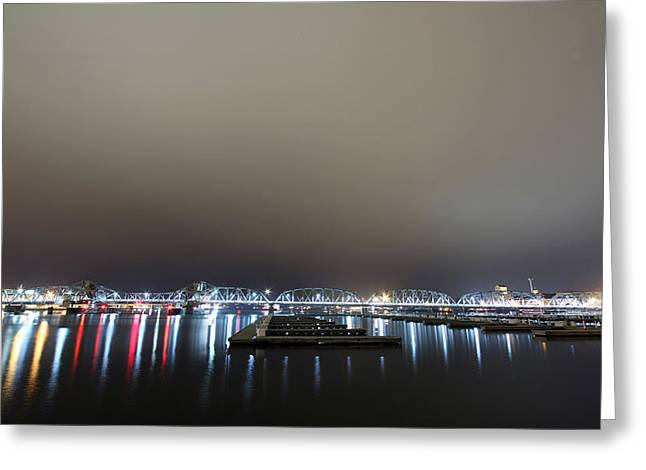 Michigan Street Bridge Night Greeting Card