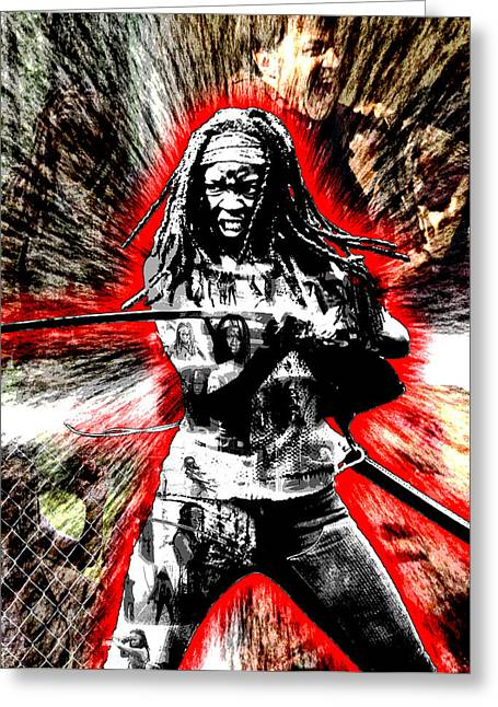 Michonne Greeting Card by Michael Lee