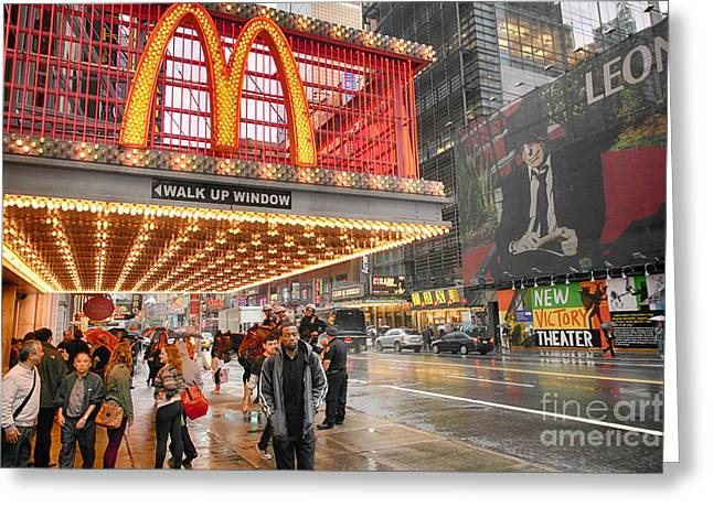 Mickey D's In Manhattan Greeting Card by David Bearden