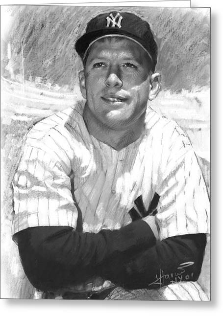 Mickey Mantle Greeting Card by Viola El