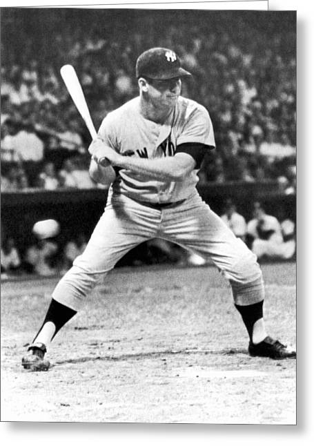 Mickey Mantle At Bat Greeting Card
