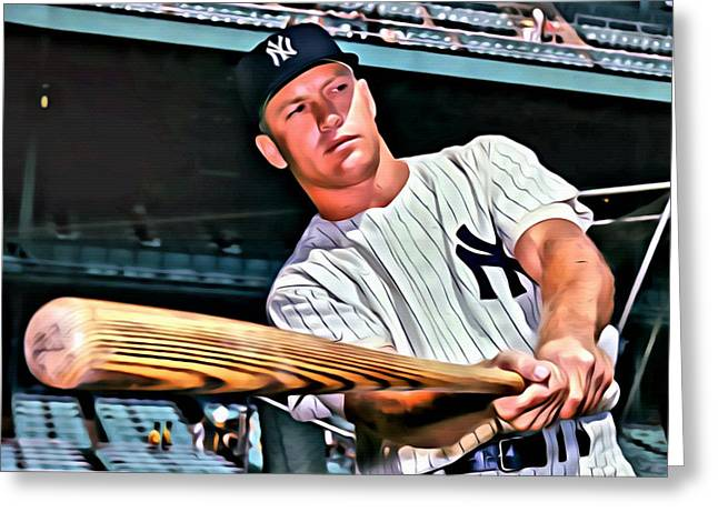 Greeting Card featuring the painting Mickey Mantle Painting by Florian Rodarte