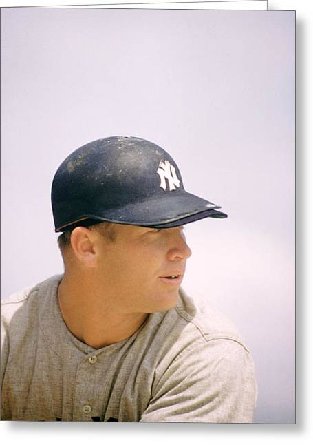 Mickey Mantle Ready To Swing Greeting Card