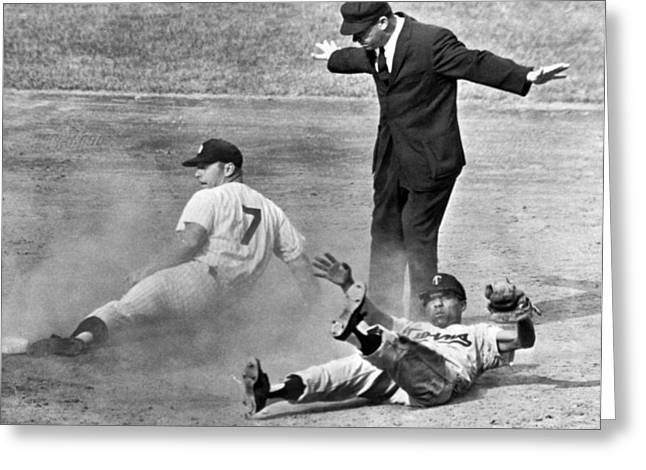 Mickey Mantle Steals Second Greeting Card by Underwood Archives