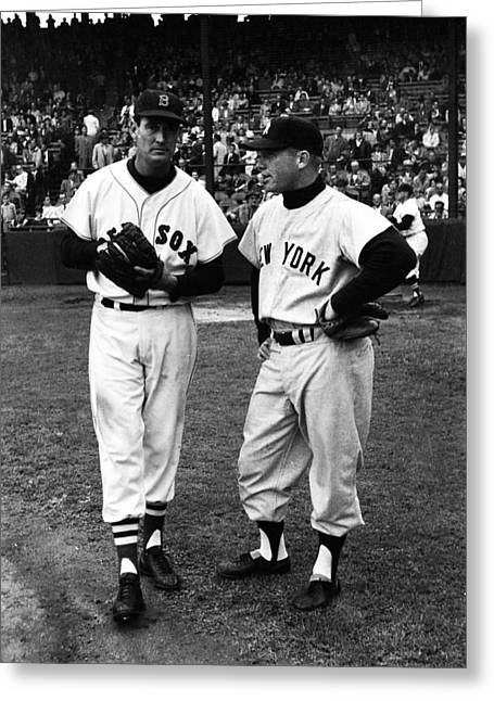 Mickey Mantle With Ted Williams Greeting Card by Retro Images Archive
