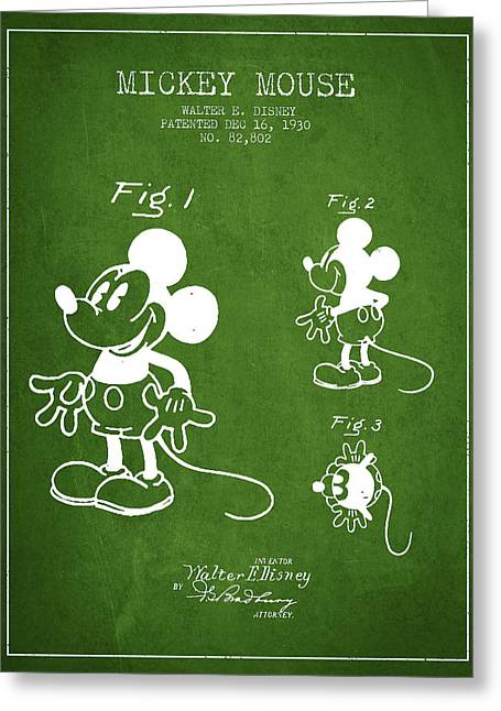 Mickey Mouse Patent Drawing From 1930 - Green Greeting Card by Aged Pixel