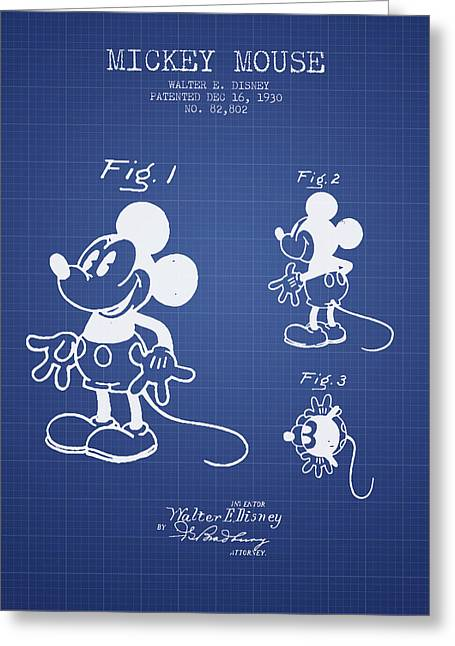 Mickey Mouse Patent From 1930- Blueprint Greeting Card by Aged Pixel
