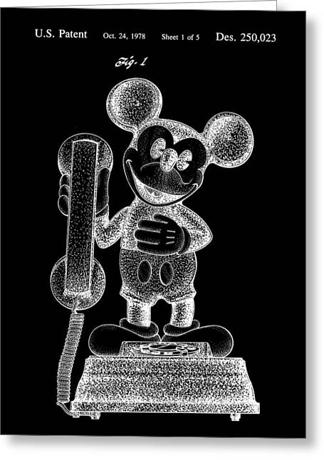 Mickey Mouse Telephone Patent 1978 - Black Greeting Card
