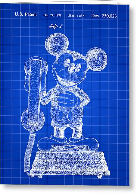 Mickey Mouse Telephone Patent 1978 - Blue Greeting Card